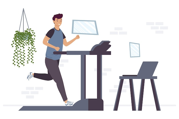 Athletic man running in machine with laptop online exercise  illustration design