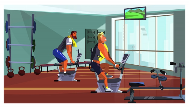 Athletic men training on fitness equipment illustration