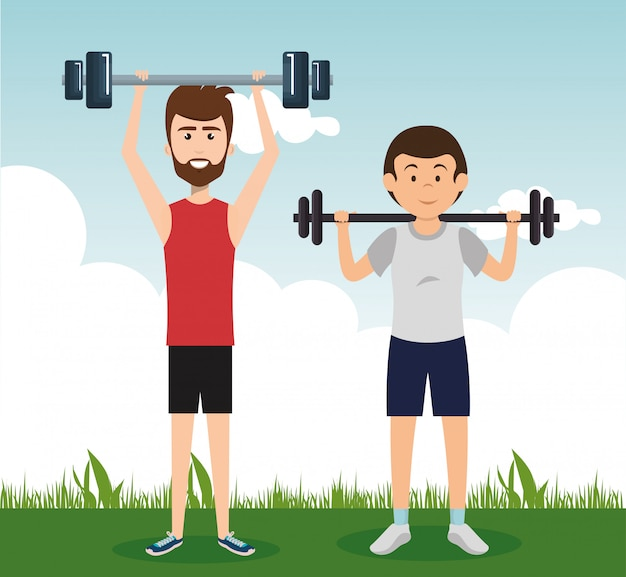 Athletic people practicing exercise characters