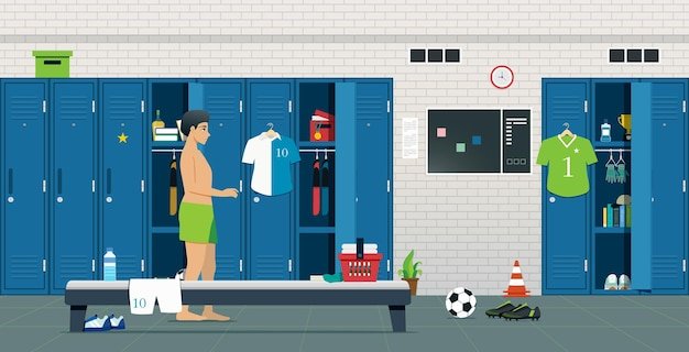 Athletic room with locker and sporting equipment.