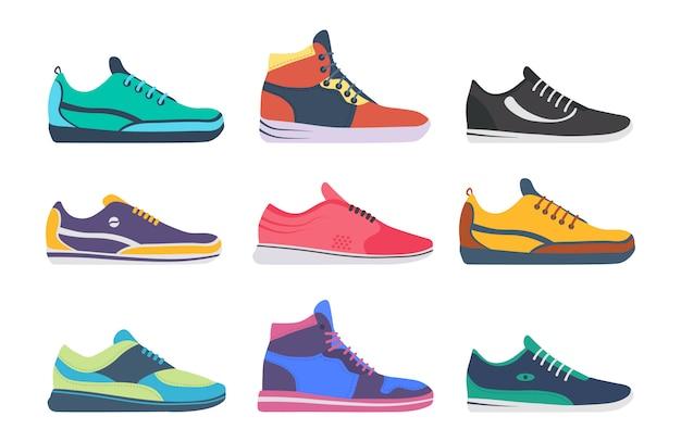 アスレチックスニーカー、白い背景のフィットネススポーツショップシューズコレクション。スニーカーの靴。トレーニング、ランニング用のスポーツシューズのセット。フラットなデザインのイラスト