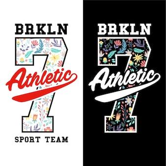 Athletic sport team number seven college badge