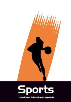 バスケットボールスポーツシルエットを練習する運動の女性