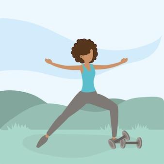 Athletic woman training exercise activity