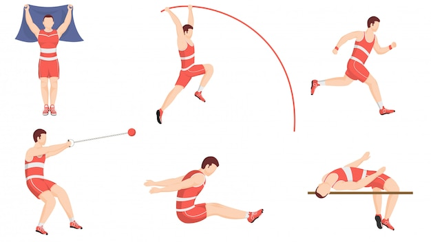 Athletics exercising or track and field sports performance in different pose.