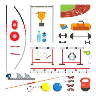 Лёгкая атлетика иконки набор векторных. спортивные аксессуары, товары