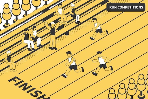 육상 선수는 움직이는 주자와 함께 운동 트랙 결승선을 볼 수 있는 스포츠 대회 아이소메트릭 구성을 실행합니다.