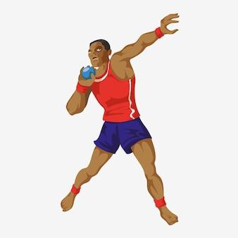Легкая атлетика толкание ядра игры спортсмена изолированные на белизне. нарисовано в плоском стиле.