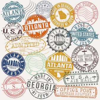Atlanta georgia set of travel and business stamps