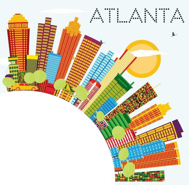 色の建物、青い空、コピースペースのあるアトランタのスカイライン。ベクトルイラスト。近代建築とビジネス旅行と観光の概念。