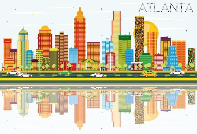 色の建物、青い空と反射のあるアトランタのスカイライン。ベクトルイラスト。近代建築とビジネス旅行と観光の概念。プレゼンテーションバナープラカードとwebサイトの画像。
