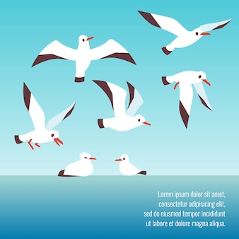 Atlantic seabirds flying background design template