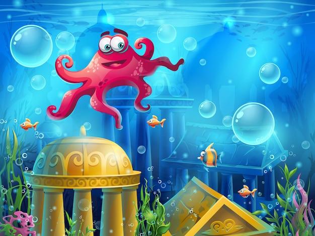 Atlantis ruins cartoon octopus