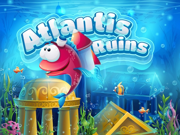 Atlantis ruins funny fish - vector illustration for game.