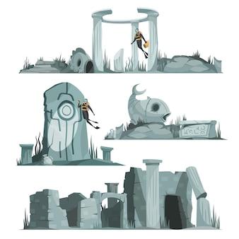 아틀란티스 유적 고대 파빌리온 원형 홀 열 아치 만화 그림의 고립 된 작곡 세트