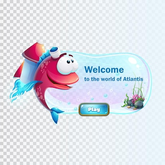 Atlantis ruins with fish rocket illustration