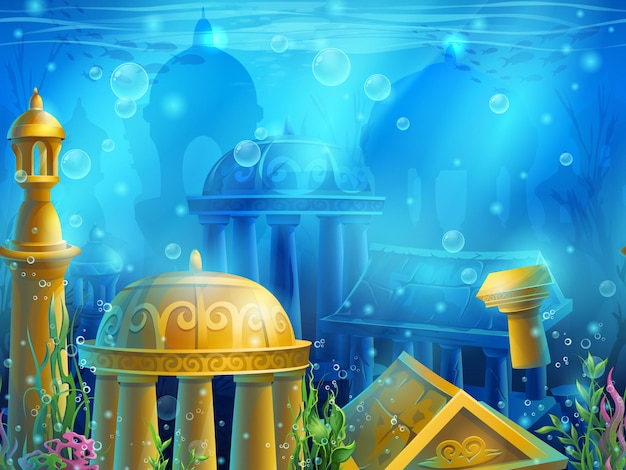 Atlantis. submerged underwater city, the gold ancient ruins of eastern.