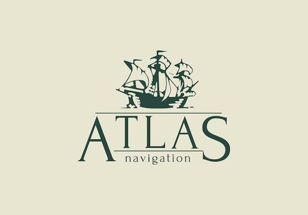 Логотип атлас. винтажный стиль корабль знак векторные иллюстрации