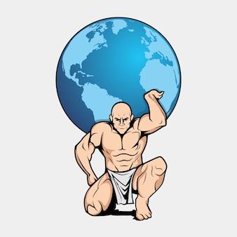 Atlas muscular mascot