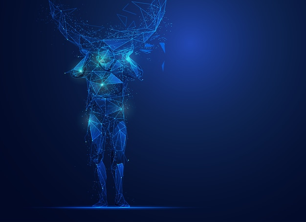 Atlas in polygonal form with futuristic elements
