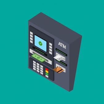 現金、クレジットカード、チェックのatmマシンの等尺性のフラットデザイン。 atmからお金を引き出す。図。分離されました。