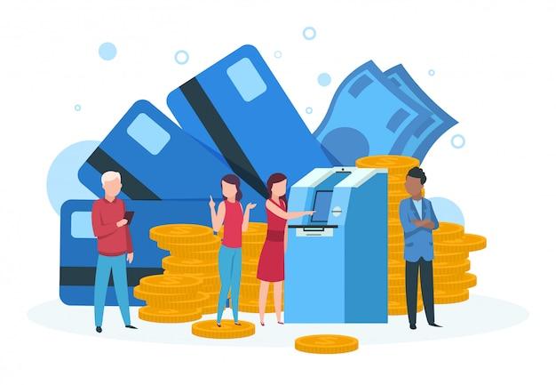 Atmビジネス。銀行のatmのランディングページに並んでいるクレジットカードの引き出し金を持つお客様