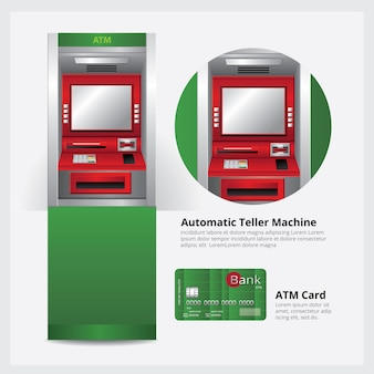 Atmカードベクトルイラスト付きatm自動預け払い機