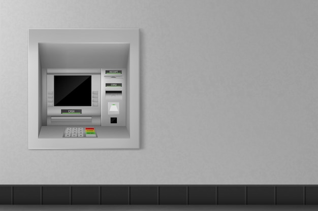 Atm automated teller machine on grey wall. banking
