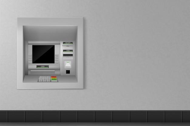 회색 벽에 현금 자동 입출금기. 은행업