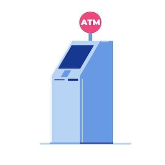 Atm 은행 현금 기계 개념입니다. 벡터 평면 스타일 그림입니다.