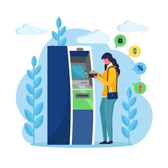 Atm bank terminal. woman customer standing near credit card reader machine and withdraw money. cartoon design