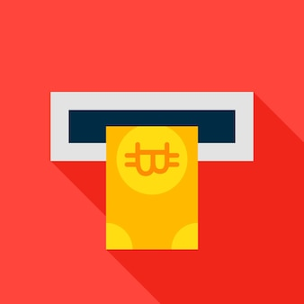 Atm bitcoin flat icon. vector illustration with long shadow. cryptocurrency financial item.