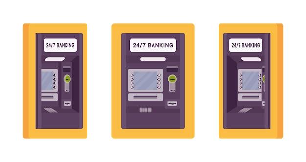 Банкомат, встроенный в стену желтого цвета
