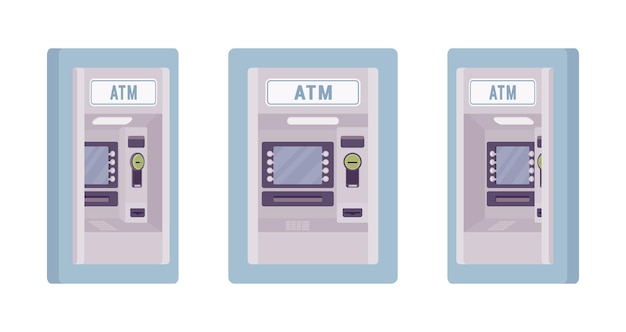 Atm built in a wall blue color illustration