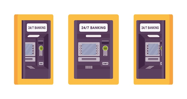 Atm built in wall yellow color illustration