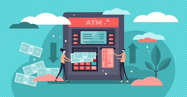 Atm cash machine  illustration.