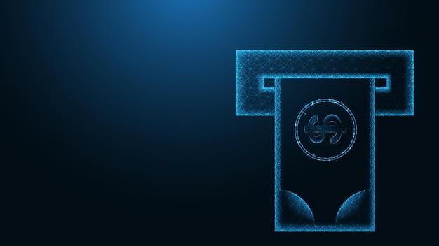 Atm 현금 인출 라인 연결 낮은 폴리 와이어 프레임 디자인 추상적 인 기하학적 배경