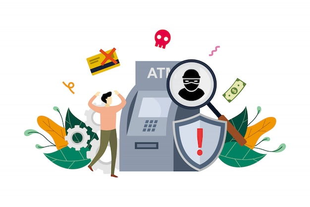 Atm cyber crime concept illustration