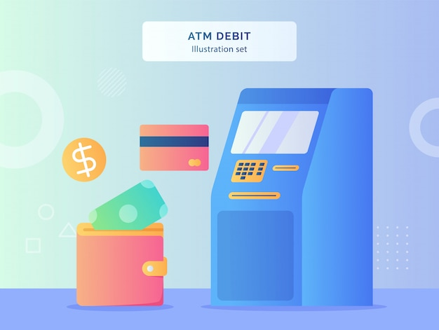 Atm debit illustration set atm machine nearby card bank coin money put in wallet with flat style