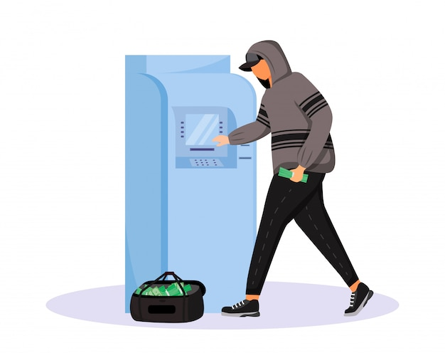 Atm fraud flat character