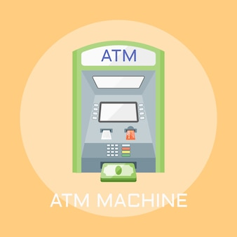 Atm machine color style illustration