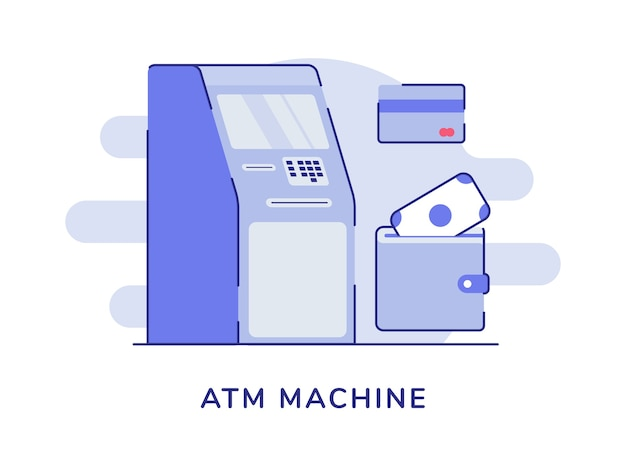 Atm machine concept money withdrawal white isolated background