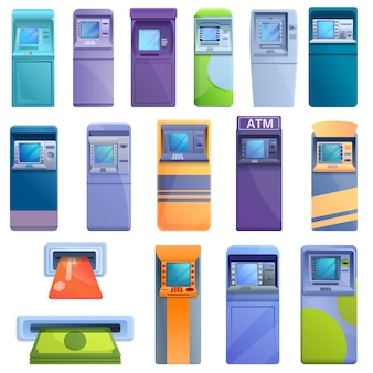 Atm machine icons set, cartoon style
