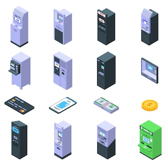 Atm machine icons set, isometric style