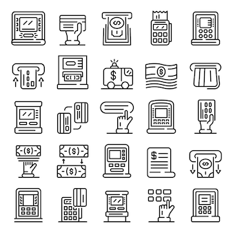 Atm machine icons set, outline style