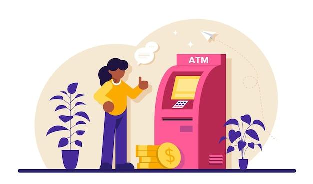 Atm機。男はatmを使って金融取引を行います。人々はatm機の近くで待っています。atmのキュー。