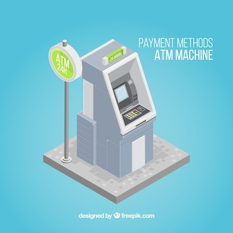 Atm machine with isometric perspective