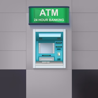 Atm machine with lightbox