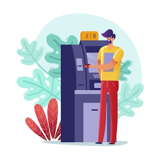 Atm paymens man illustration