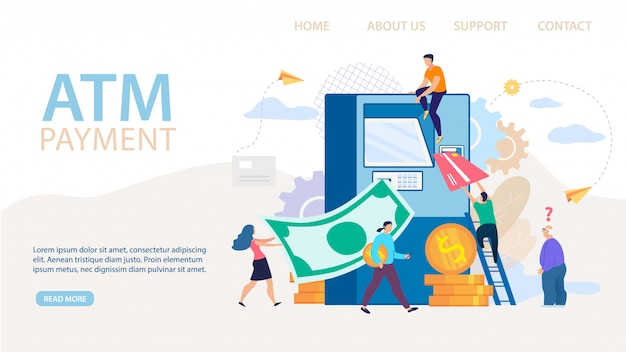 Atm payment and financial transaction landing page